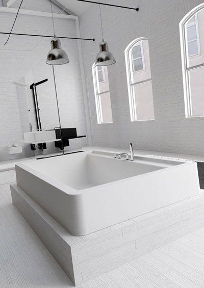 Reforma ba o con ba era exenta ducha con mampara paredes de ladrillo visto pintadas blanco - Banera con mampara ...