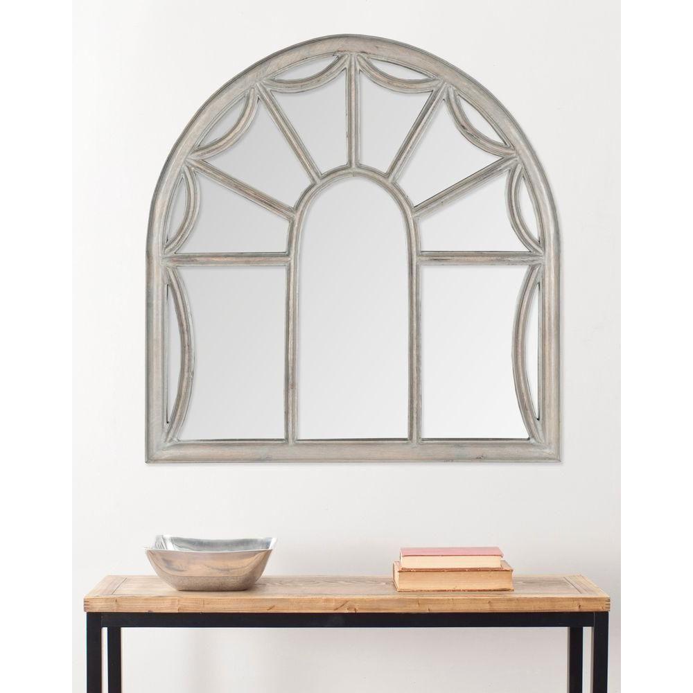 Palladian 33 in. x 32 in. Mango Wood Framed Mirror