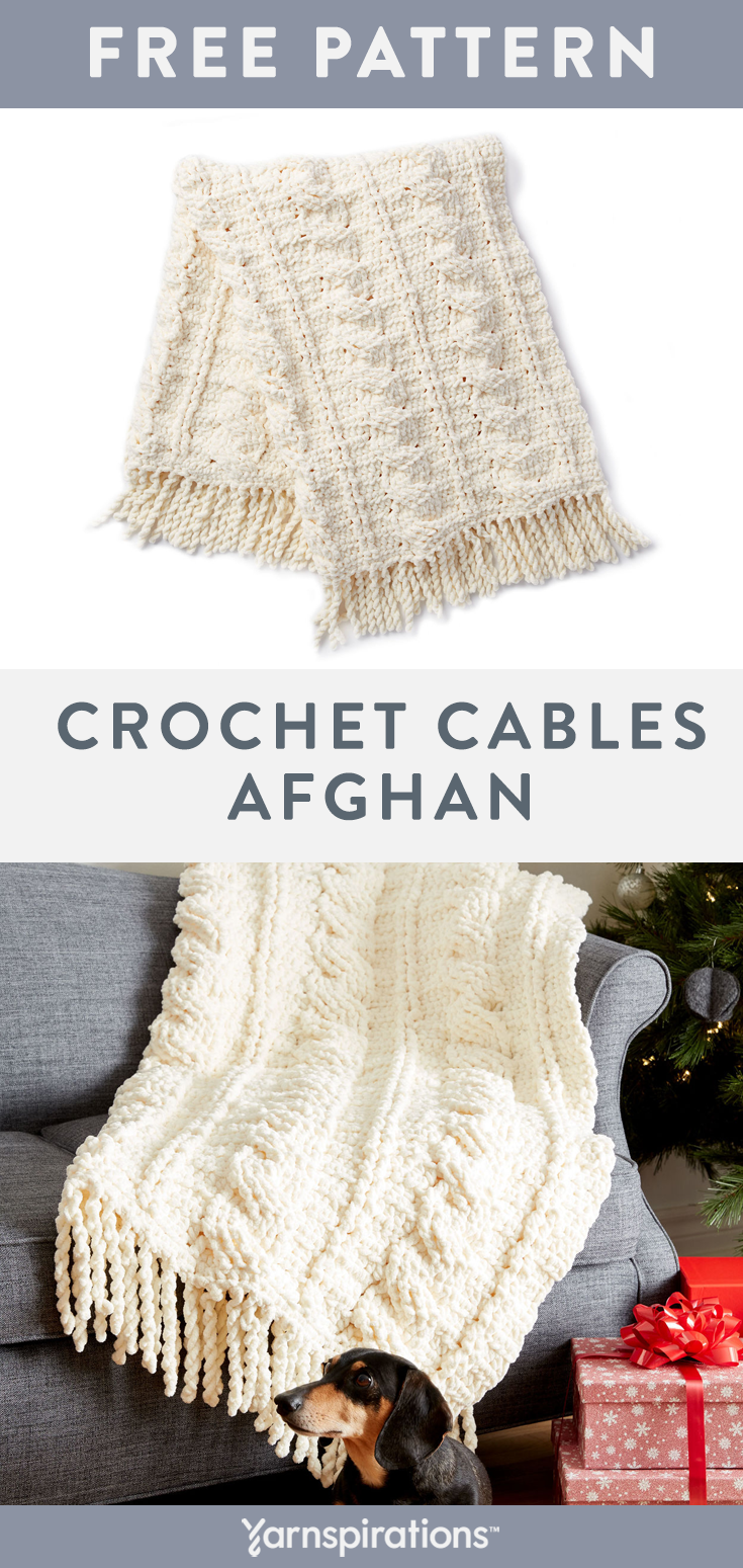 Crochet this cozy chenille-style afghan for your home in Bernat ...
