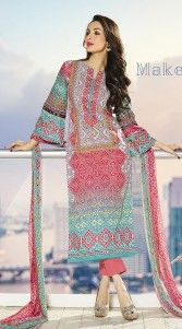 Give in to the exotic look like Malaika Arora Khan wearing this exclusive multicolor pure cotton bollywood salwar kameez which is ornamented with exclusive designer printed work all over and resham embroidery work on the neck line. This attire comes with matching bottom and dupatta.This Salwar Kameez can be stitched in the maximum bust size of 44 inches...