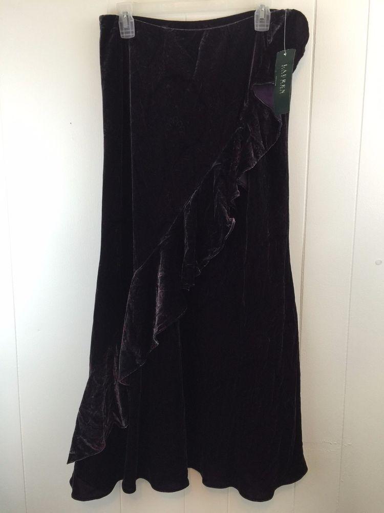 08701211b82c Ralph Lauren Womens L Velvet Maxi Skirt Purple Ruffle Floral Long Elastic  Waist #RalphLauren #Maxi