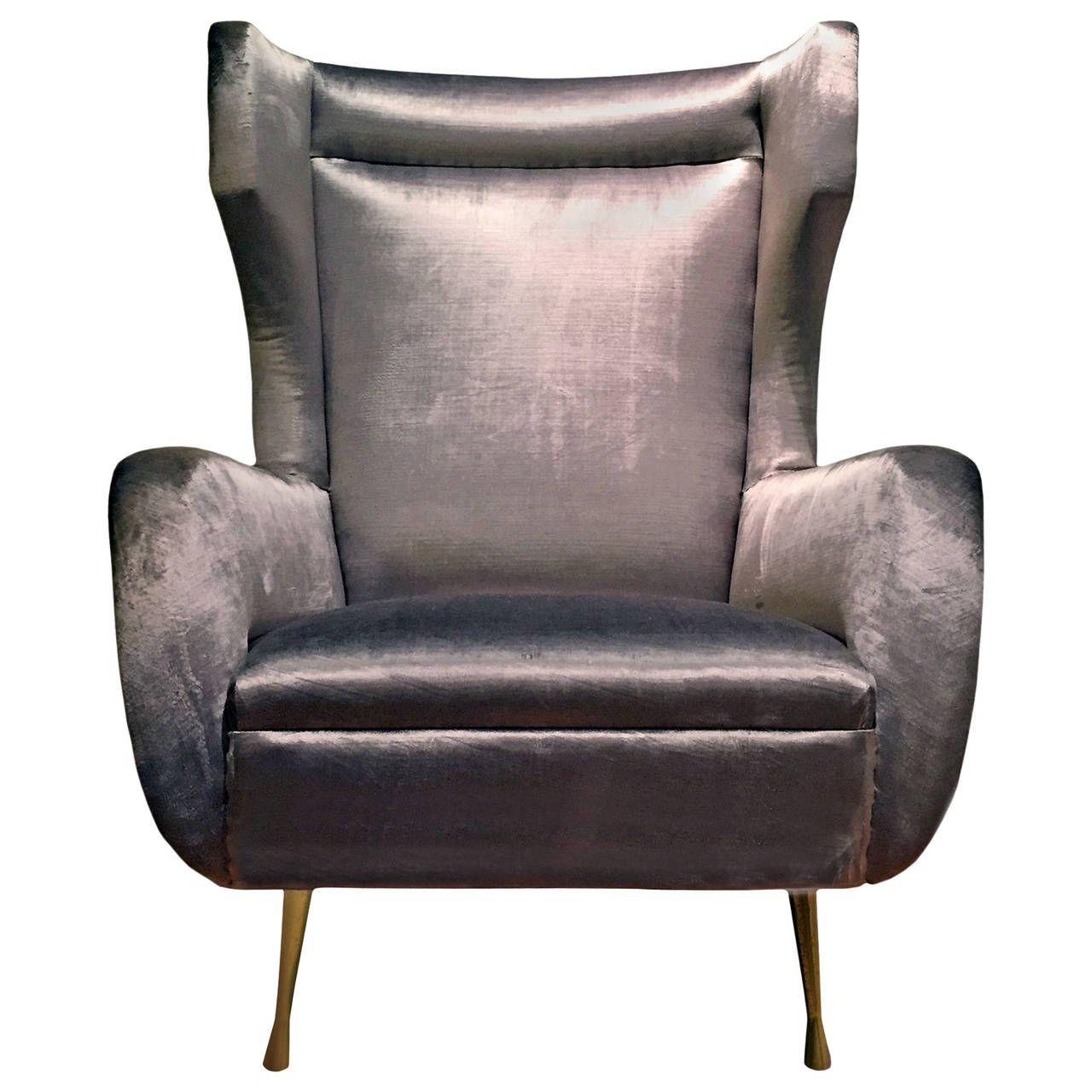 1950s Curved Velvet Wingback Armchair | Sofá y Sillas