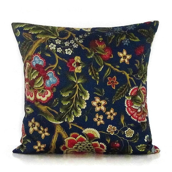 Best Navy Blue Floral Pillow Cover Botanical Decorative Throw 400 x 300