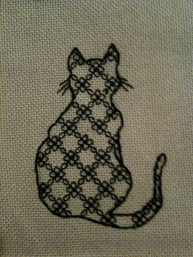 Cat embroidery in blackwork | BLACKWORK | Pinterest | Stickerei ...