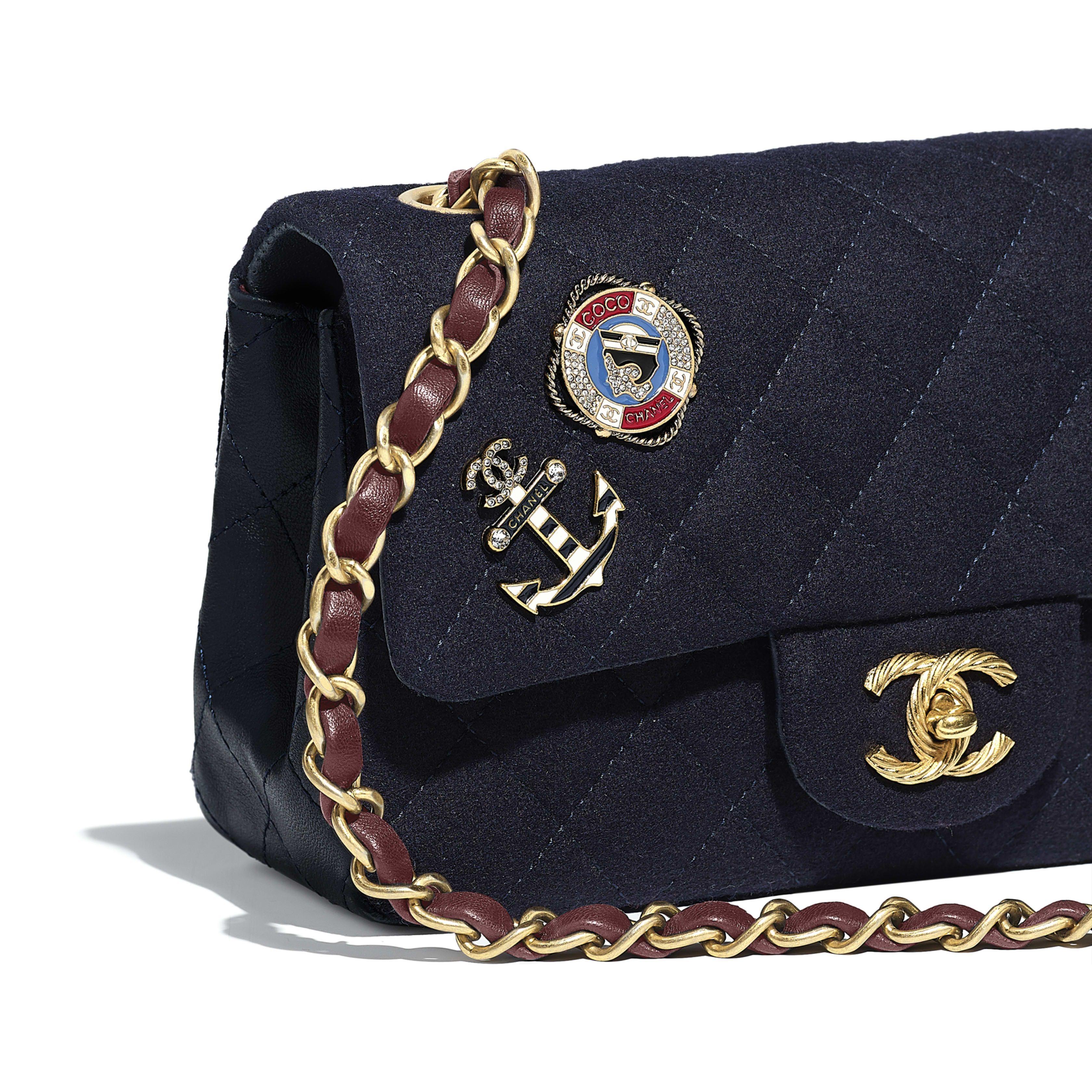 Mini Flap Bag Wool Lambskin Charms Gold Tone Metal Navy Blue