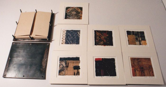 Archipelago in box No.4 - 7 collages used the Okinawan antique fabric with the original iron box 林孝彦 HAYASHI Takahiko 1995