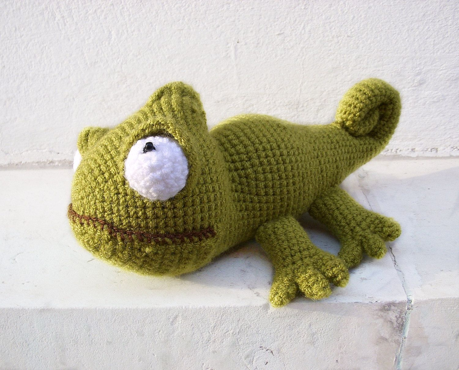 Crocheted toy, Crocheted cute chameleon , green chameleon, kids, ch ...