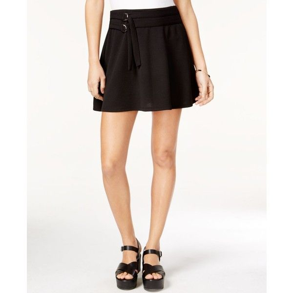 Material Girl Juniors' Belted Skater Skirt, ($40) ❤ liked on Polyvore featuring skirts, caviar black, a-line skirt, belted skirts, circle skirts, skater skirts and material girl