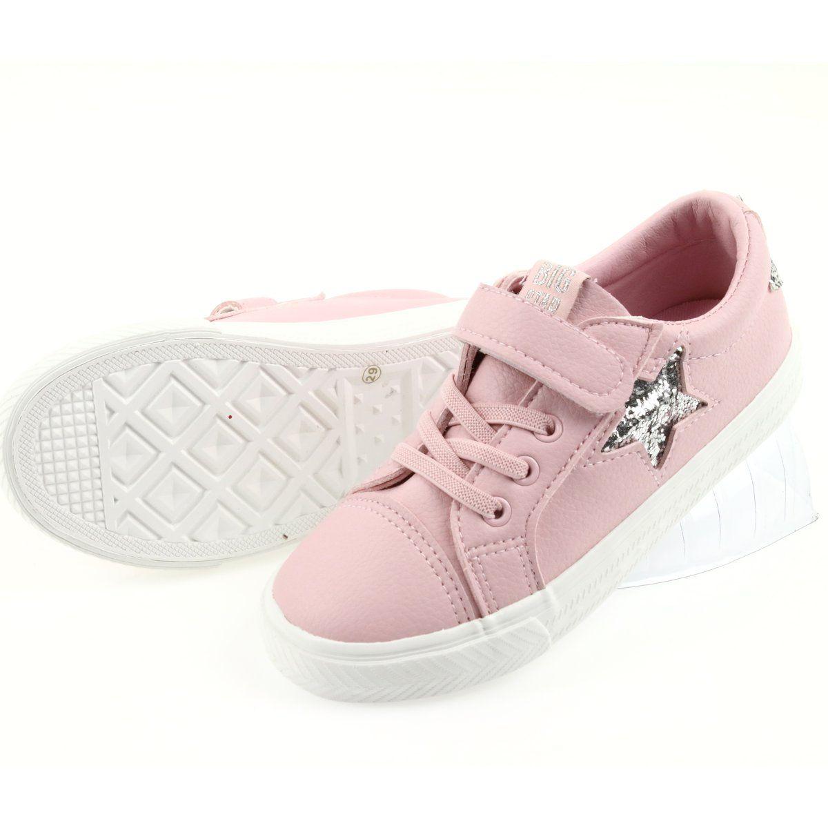 Big Star Trampki Na Rzepy Gwiazda 374104 Rozowe Szare Velcro Sneakers Childrens Sneakers Sneakers