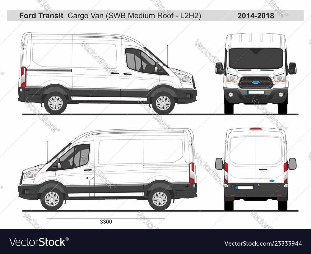 Ford Transit Cargo Delivery Van L2h2 2014 2018 Vector Image On Ford Transit Transit Custom Ford