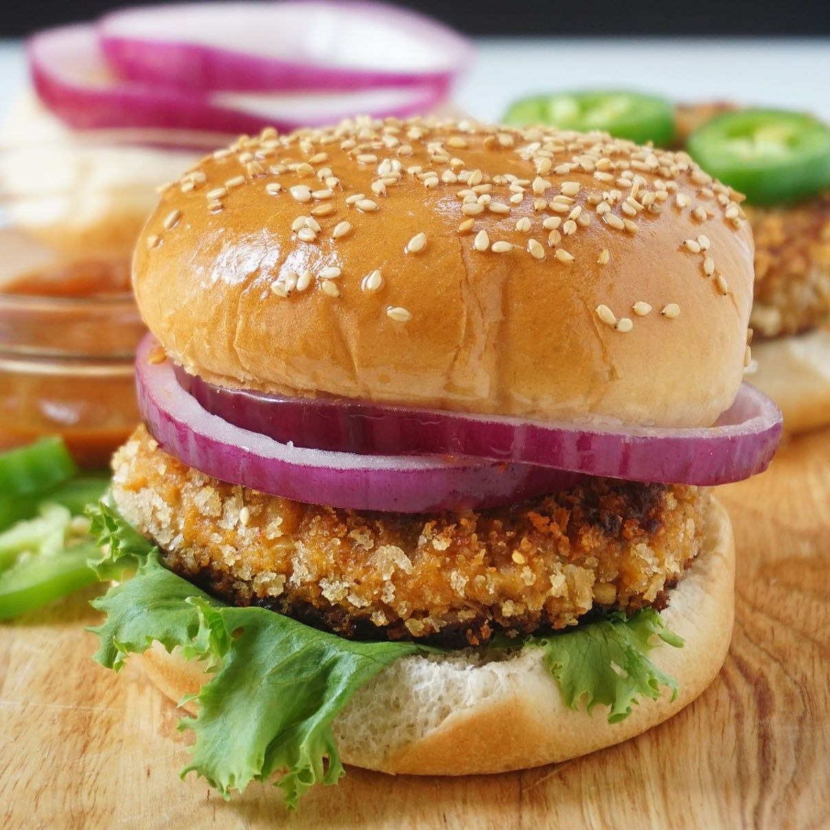 These vegan chickpea burgers are super easy to throw together for an easy dinner and boy do they deliver on flavor! Recipe includes a simple homemade barbecue sauce that is sweetened with dates!