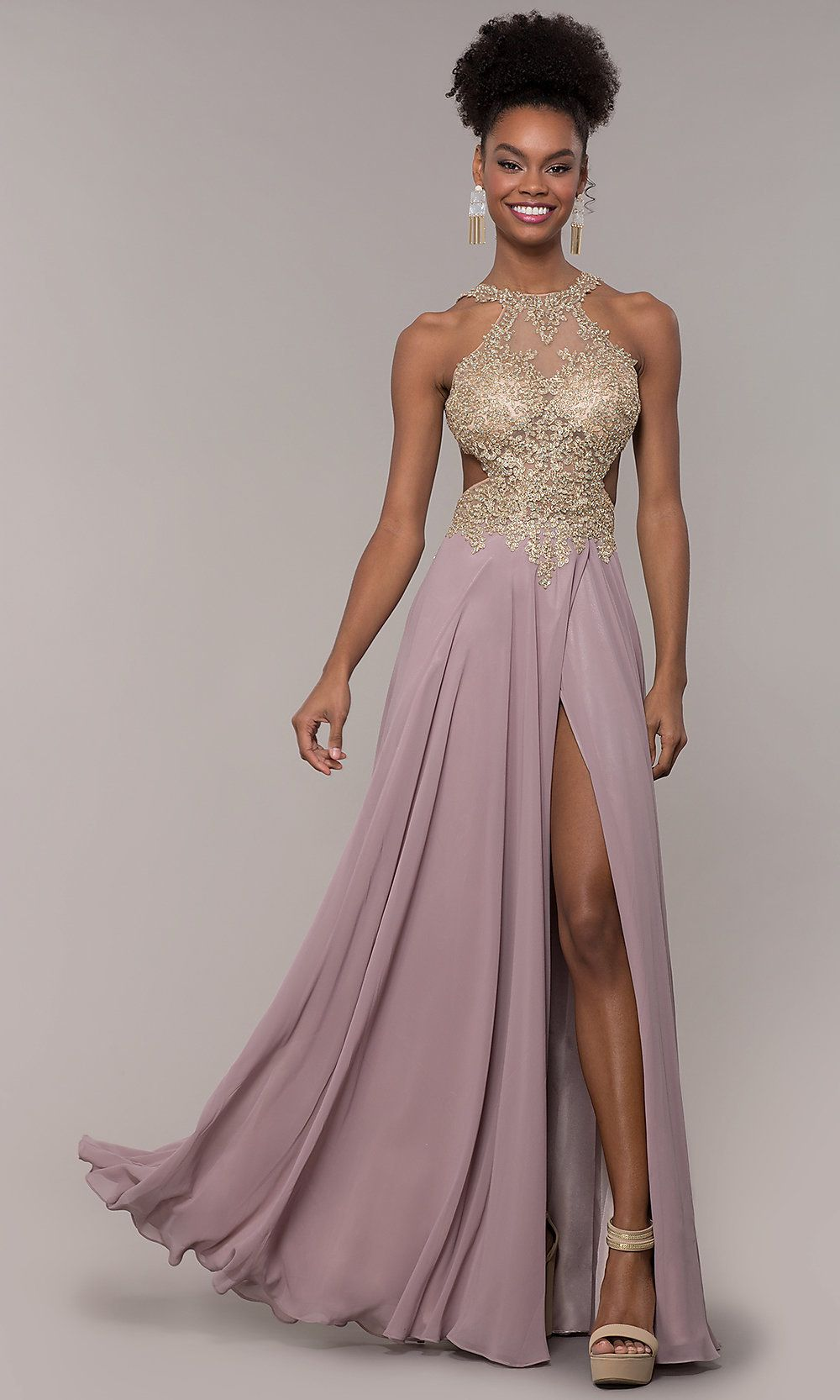 Long V-Neck Chiffon Prom Dress with Embroidery   Dresses
