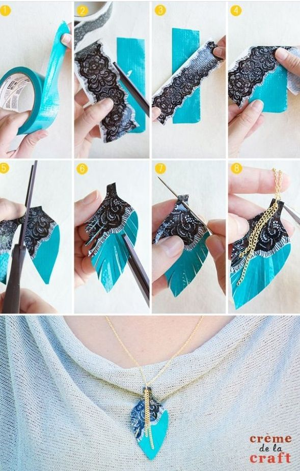 Duct Tape Jewelry Feather Necklaces Diy Necklace