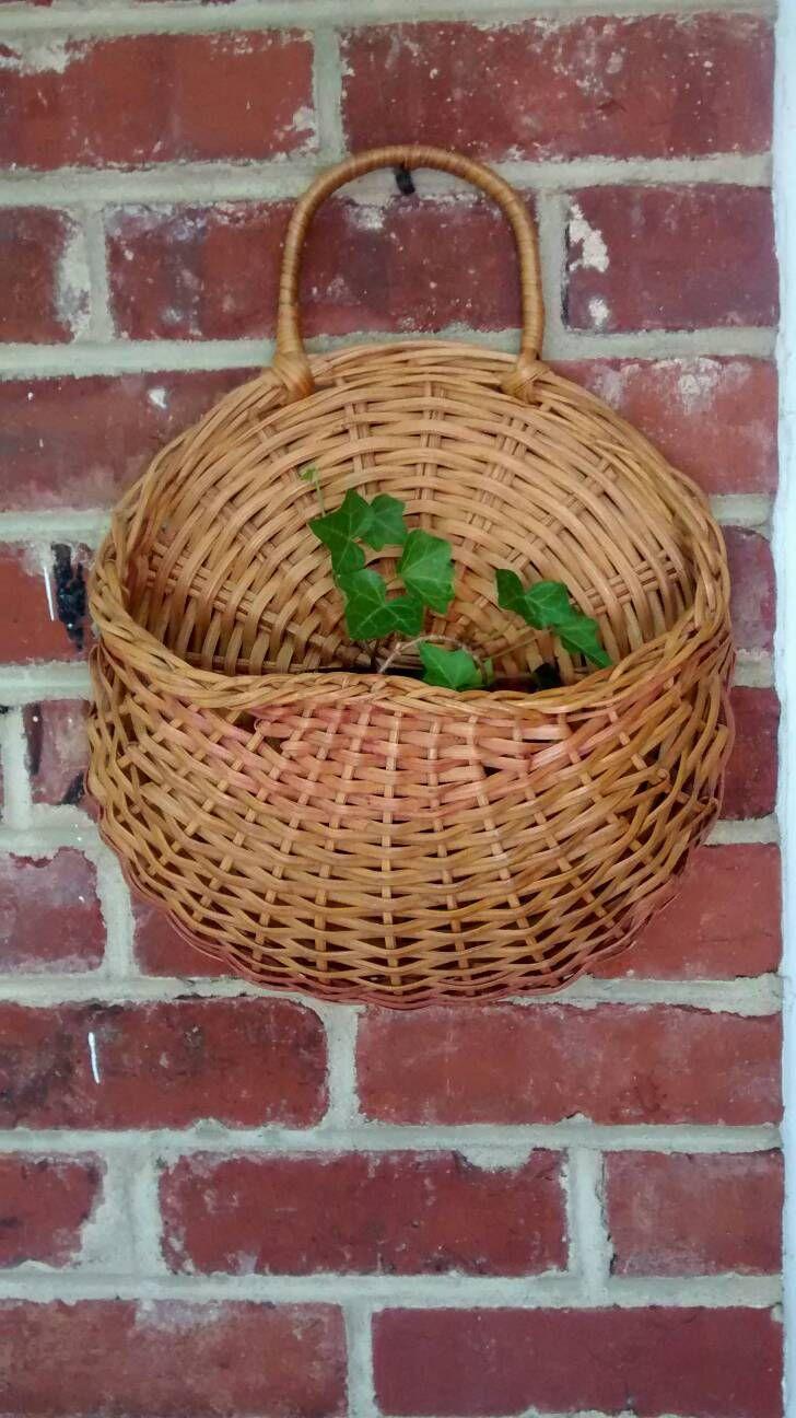 Round Woven Wall Basket Planter Basket Wicker Wall Basket Planter Boho Chic Home Decor Rustic Planter Basket By Baskets On Wall Rustic Planters Basket Planters