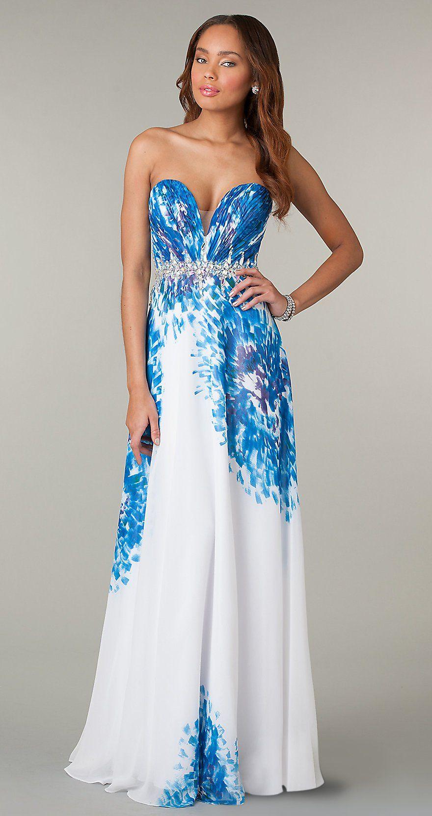 Long Flowy Sheath Chiffon Formal Print Gown Strapless Jewel Waist ...