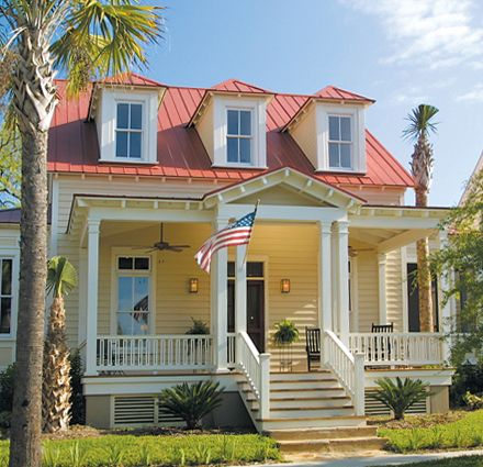 Charleston Red Tin Roof Clad Siding Rocking Chair Front Porch Triple Dormers Tin Roof House Red Roof House Custom Home Builders