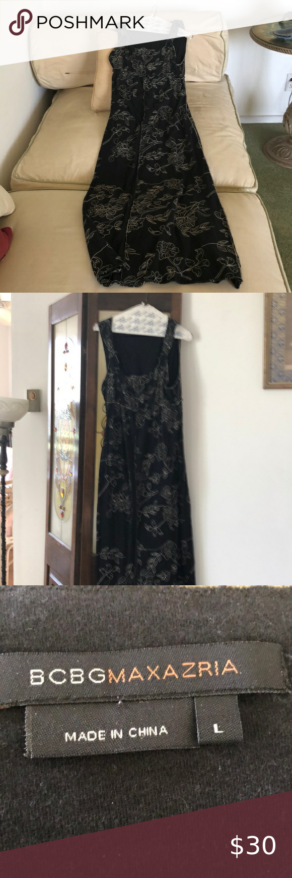 Bcbg Long Black Dress With Embroidered Flowers Long Black Maxi Dress Long Black Dress Dresses [ 1740 x 580 Pixel ]