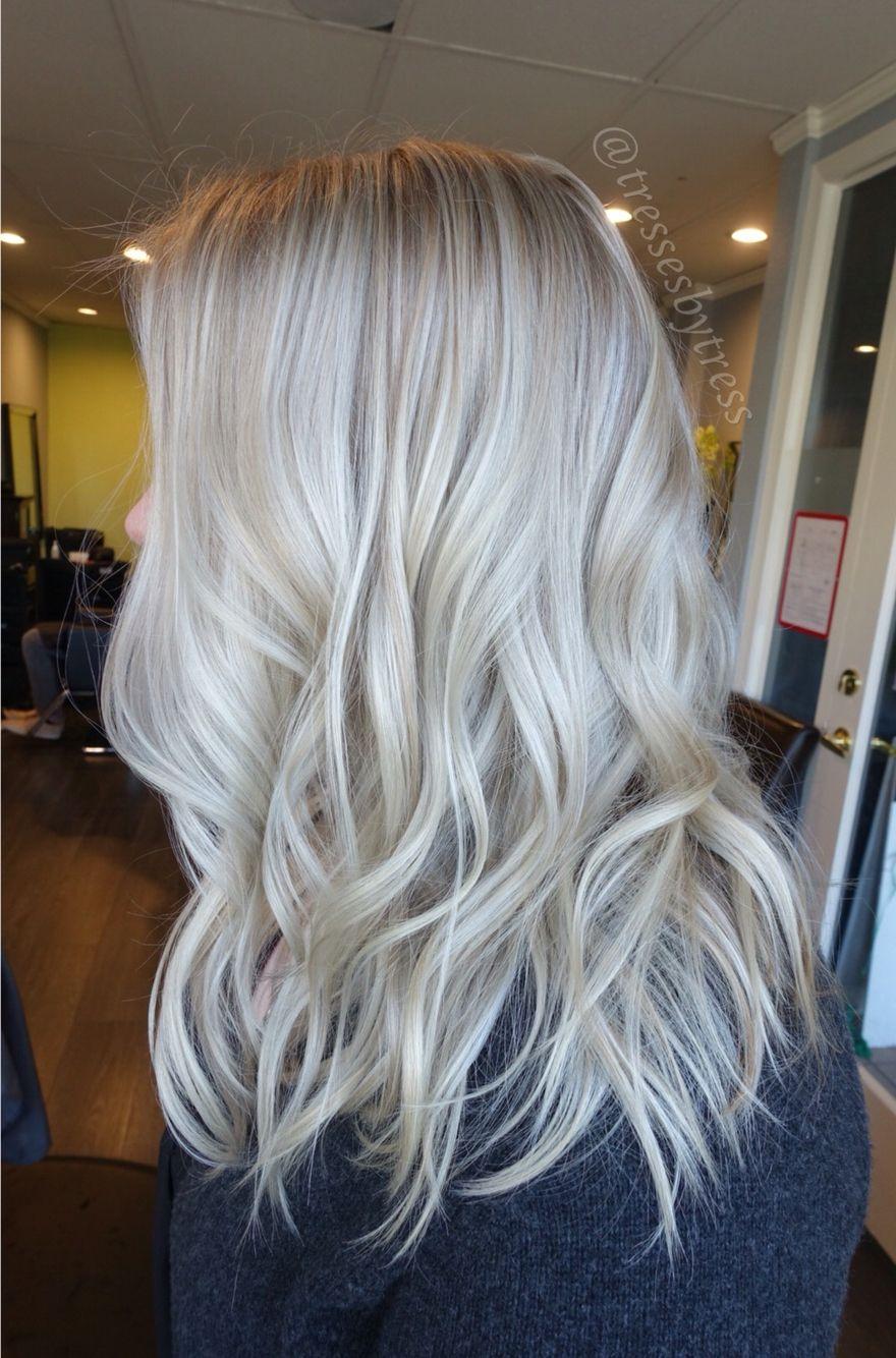 Platinum white blonde balayage beach waves