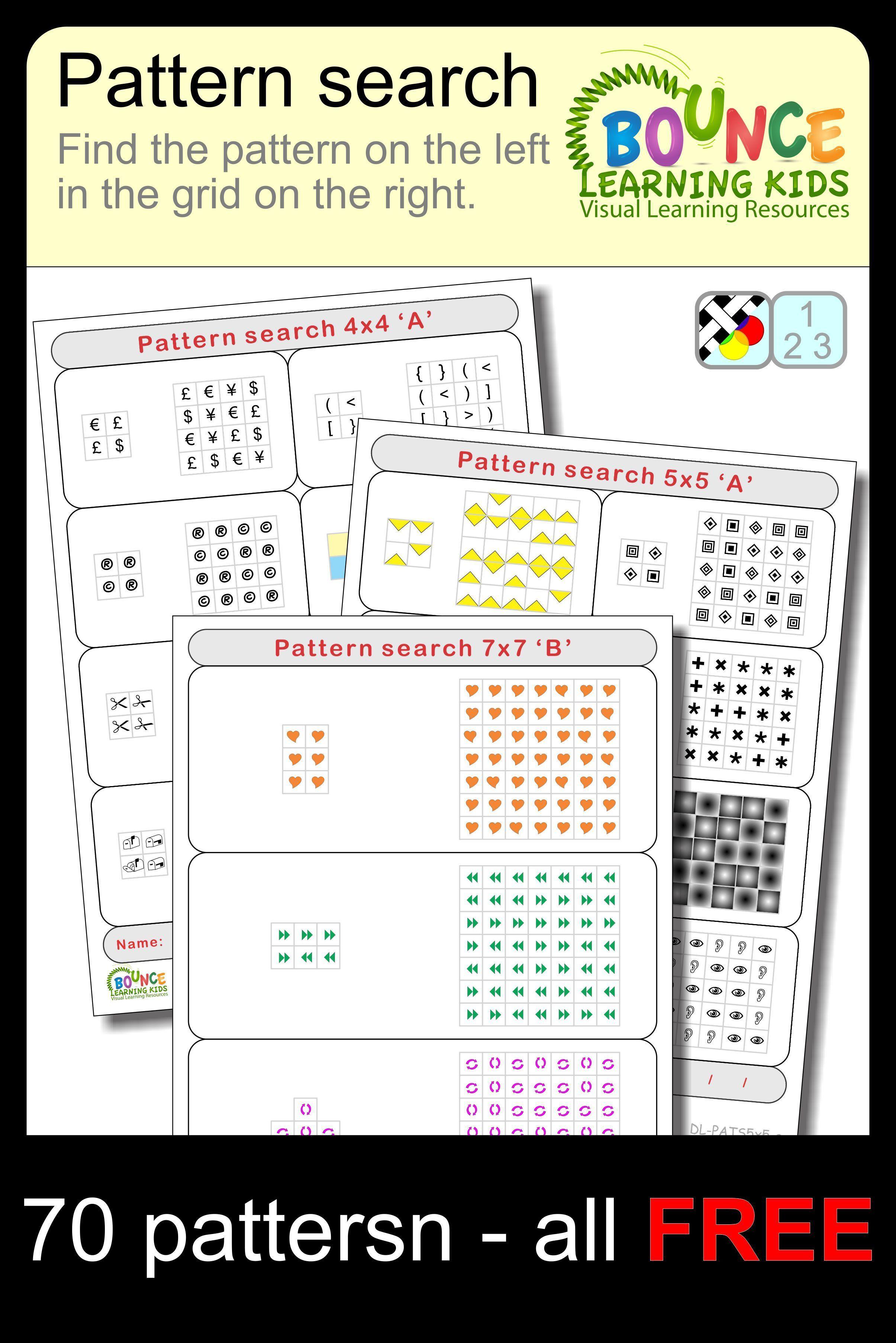 Pattern Search 15 Visual Perception Sheets Free