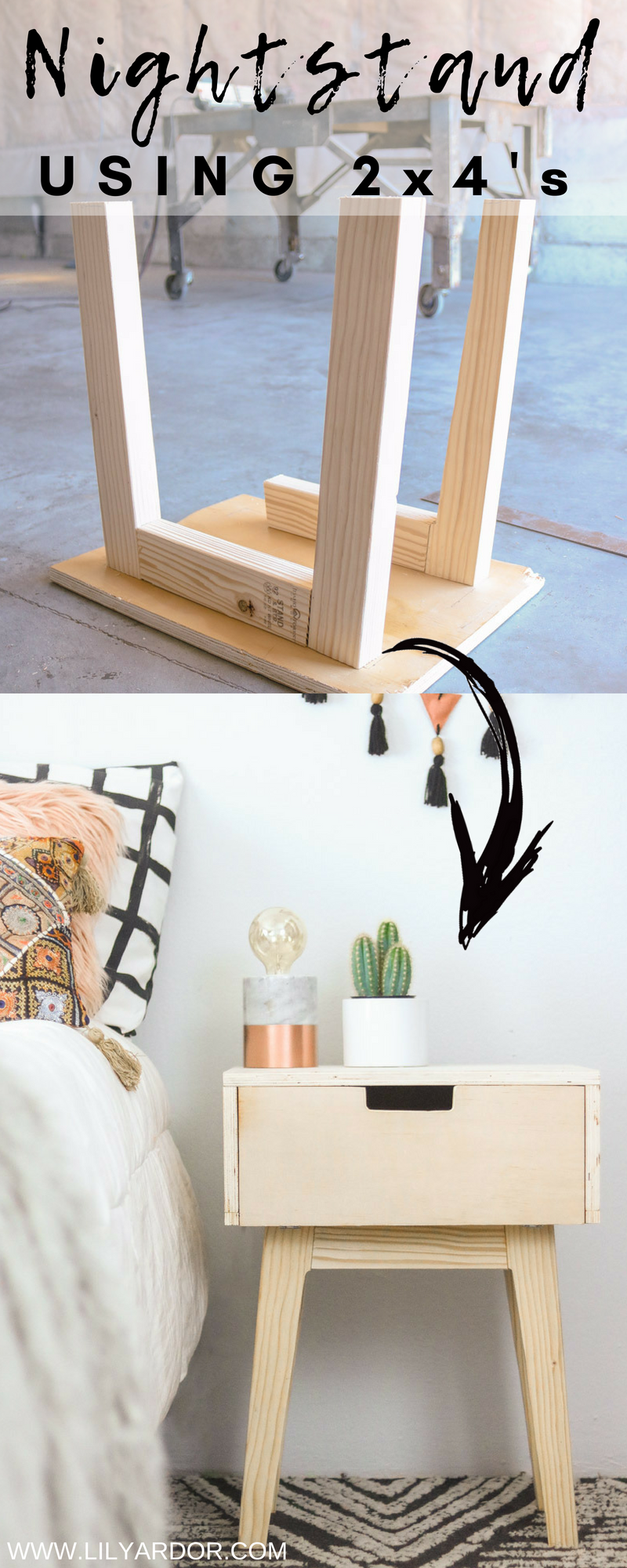 Here S A Quick Nightstand You Can Make Using 2x4 S And Plywood Follow 7 Easy Steps Diy Furniture Easy Diy Furniture Projects Diy Nightstand