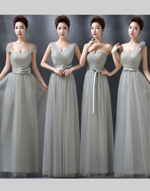 Elegant Gray Color Tulle Long Dress Dinner Dress Onesimplegown Com Dinner Dress Dresses Long Dress
