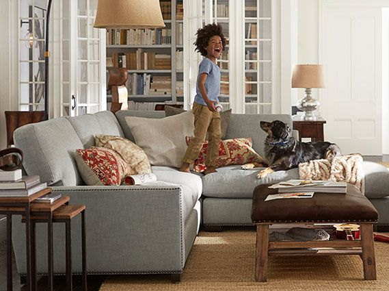 Turner Sofa Like Without Nailheads Also Like The Leather Ottoman With Open Bottom Living Room Decor Furniture Pottery Barn Living Room Living Room Leather