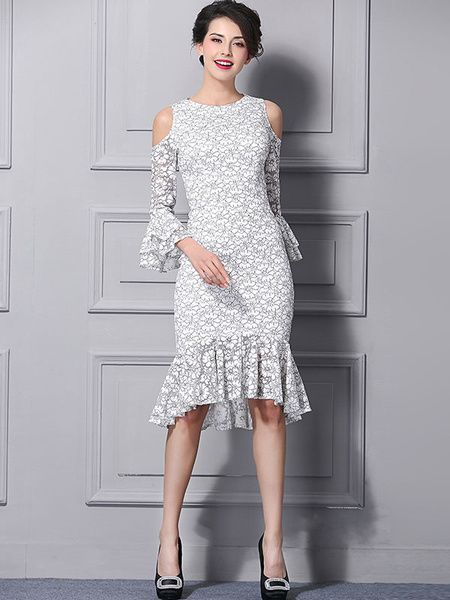 White peplum dress with lace