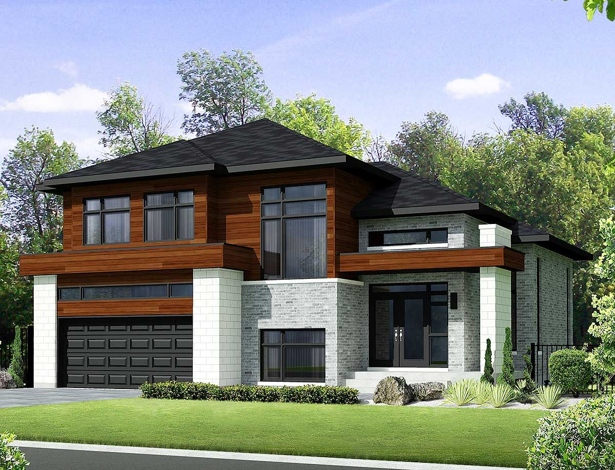 Plan 80851pm Two Story Contemporary House Plan Contemporary House Plans Two Story House Design Modern House Plans