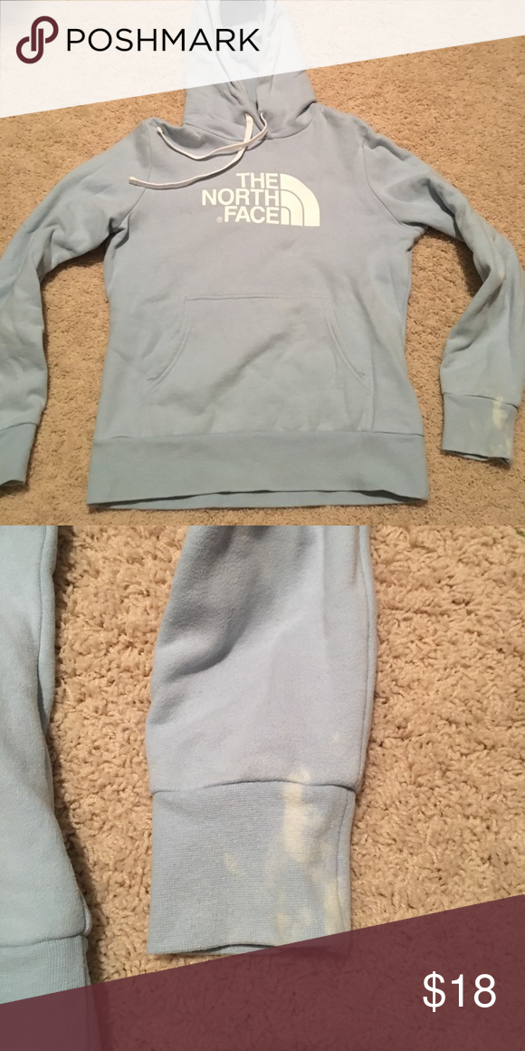 North face women's hoodie Only issue is the bleach stain on the arm (seen above in pics) The North Face Tops Sweatshirts & Hoodies