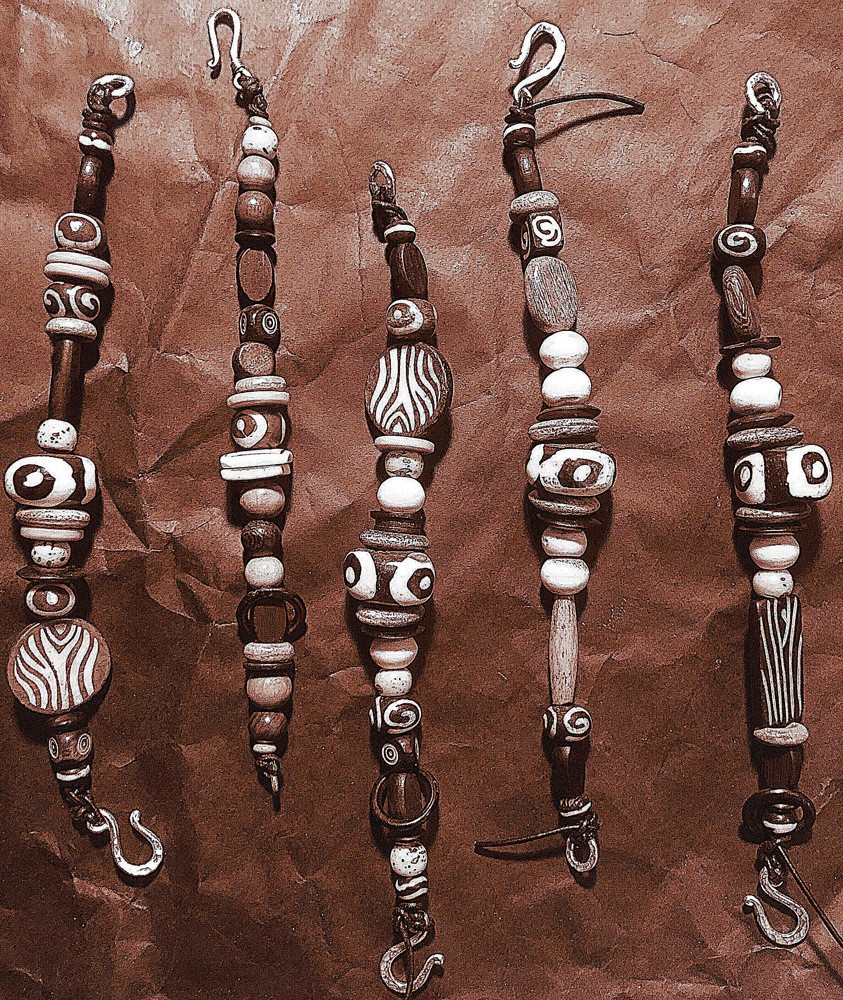Wood Bone Leather Amp Silver Bracelet Hiawatha D Hiawathad