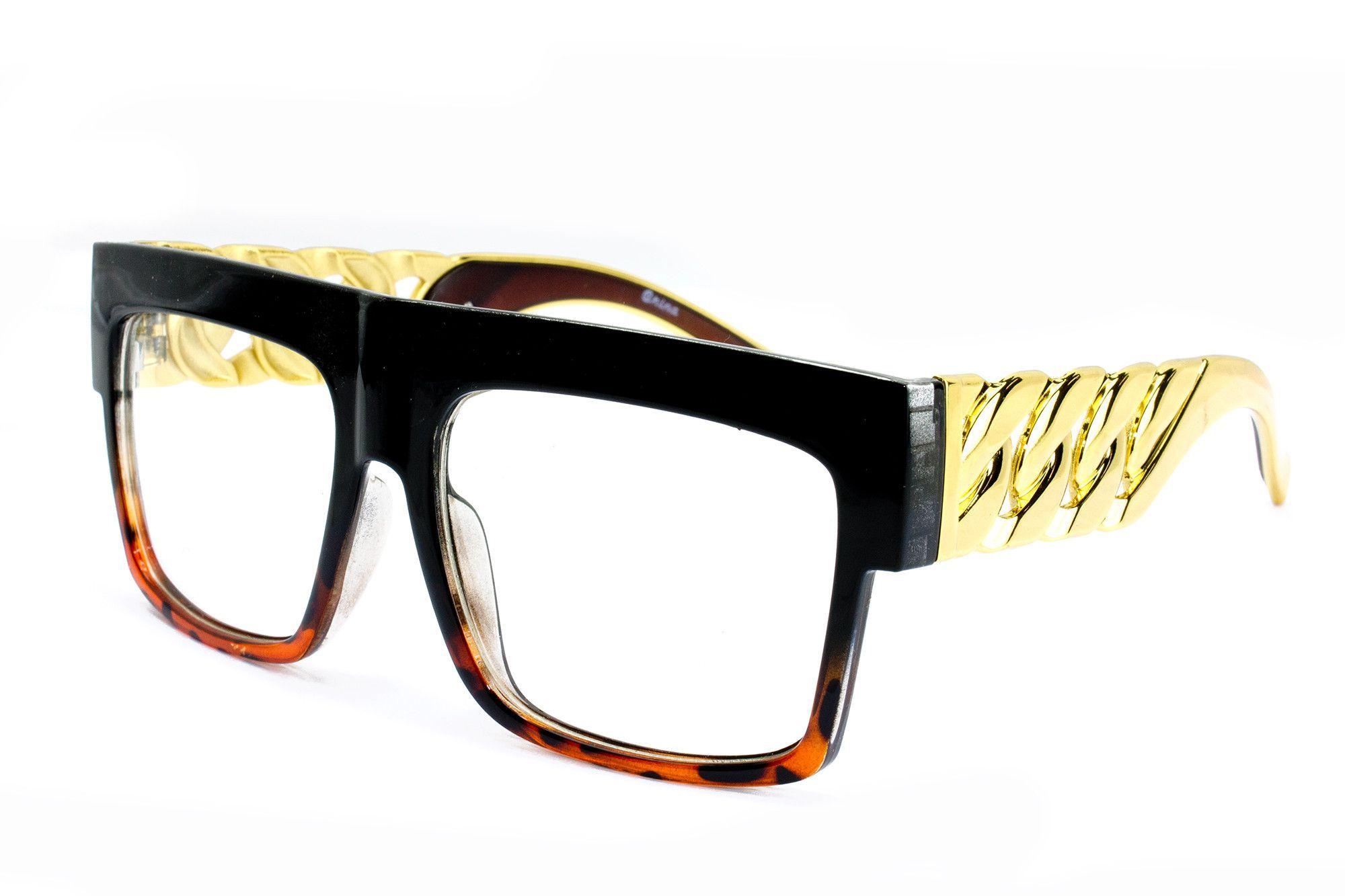 464b4feb7b99 Thick Frame Rapper 80 s 90 s Retro Hip Hop DJ Large Design Squared Clear  Lens Glasses