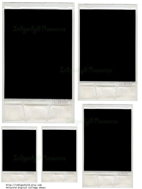 Polaroid Digital Collage Sheet JPG by indigochyld on Etsy, $175 - polaroid template
