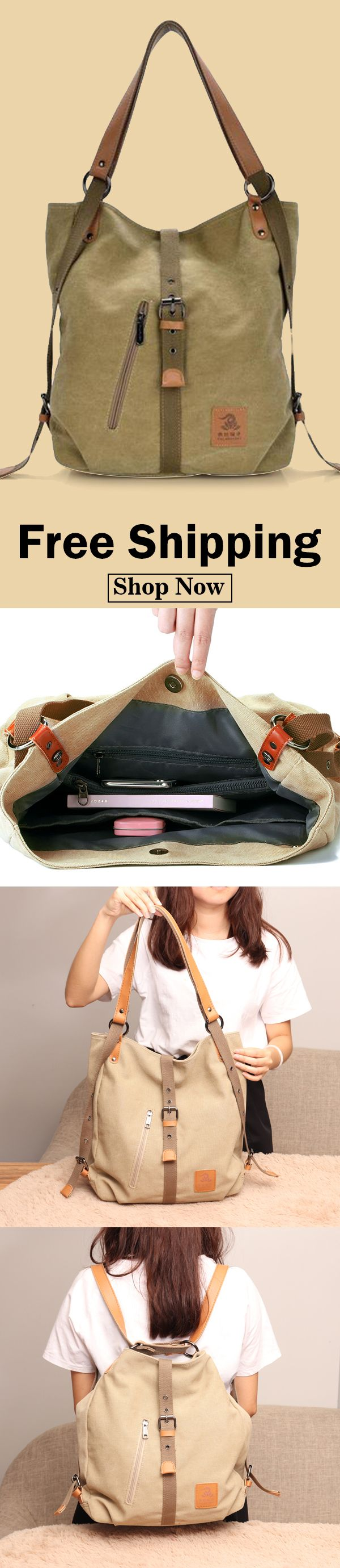 5b9d19f50c9d Canvas multifunctional Leisure Shoulder bag Backpack Messenger Bag ...