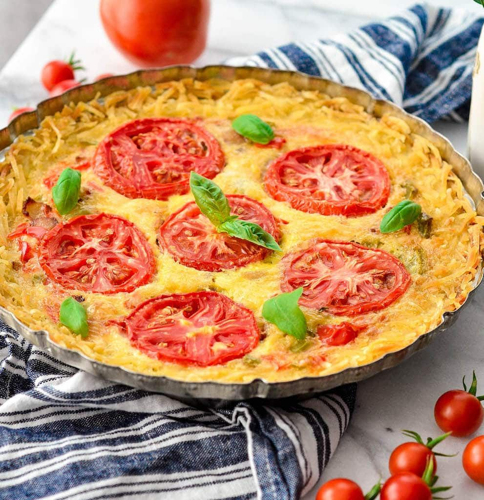 This GlutenFree Hash Brown Quiche is an easy, healthy