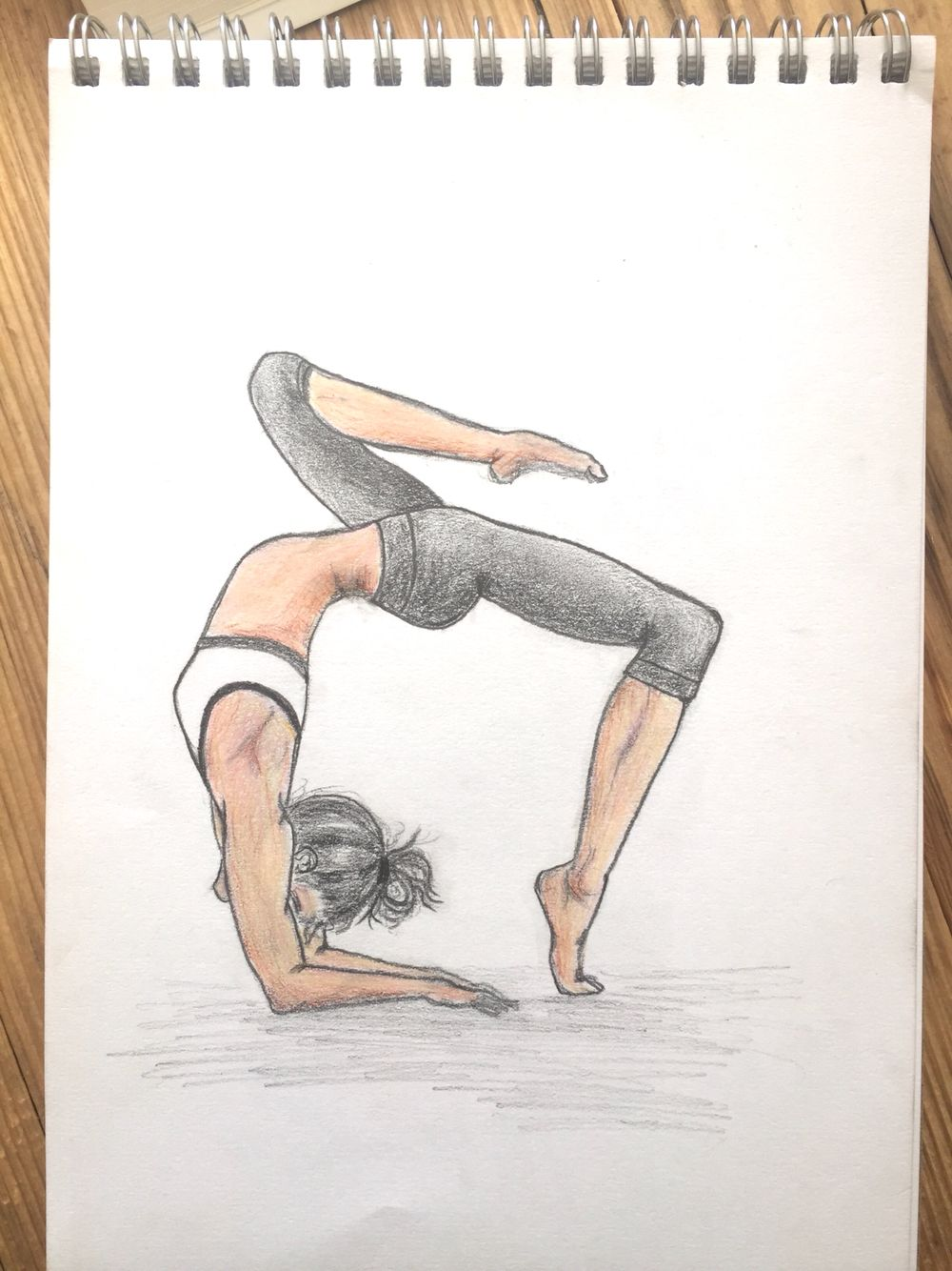 My finished yoga girl drawing coloured pencil art in 2019 yoga
