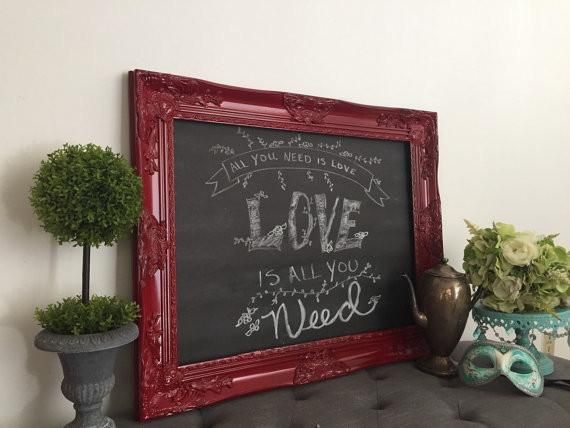 Baroque Framed Chalkboard Red                         – Hallstrom Home