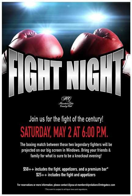 Fight Night Flyer Poster Template At Mountaingate Country Club