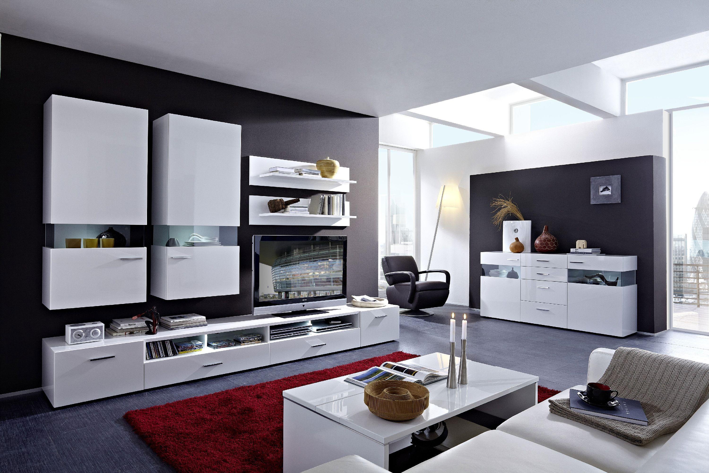 Wohnzimmerset Weiss Hochglanz / Glas Parsol Grau Woody 22 00427 Modern  Jetzt Bestellen Unter: