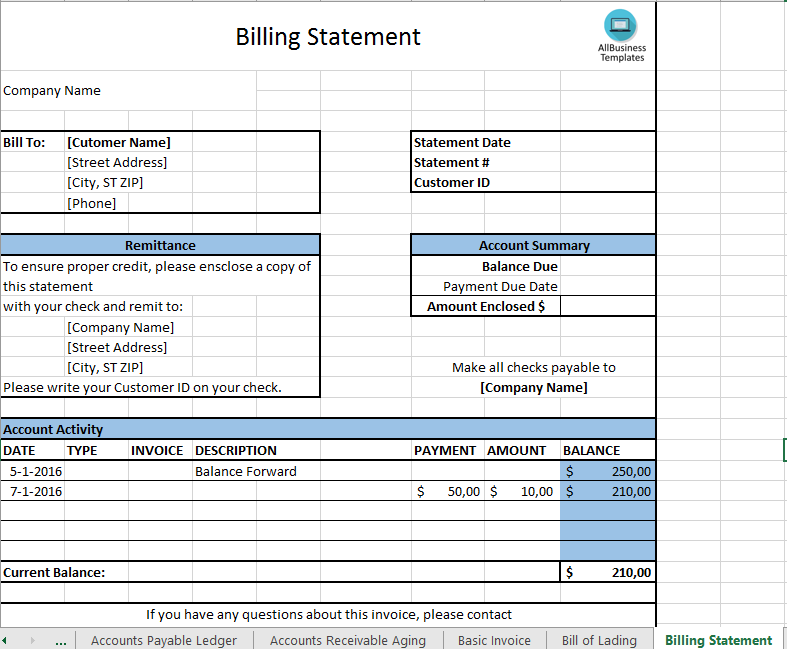 billing statement template download this billing statement excel