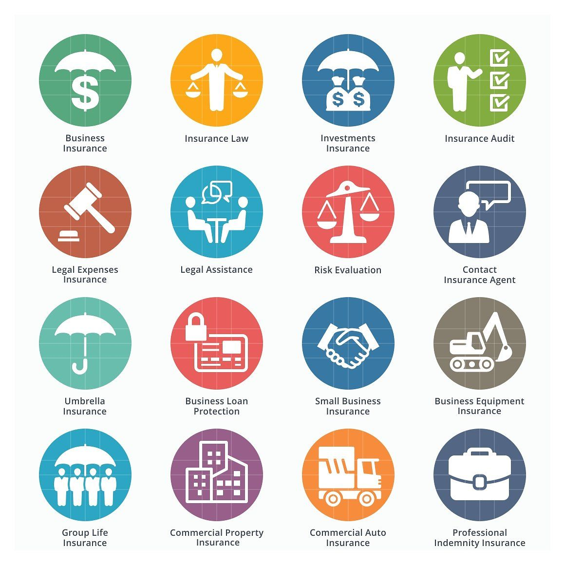Business Insurance Icons Colored Business Insurance Professional Insurance Insurance Law