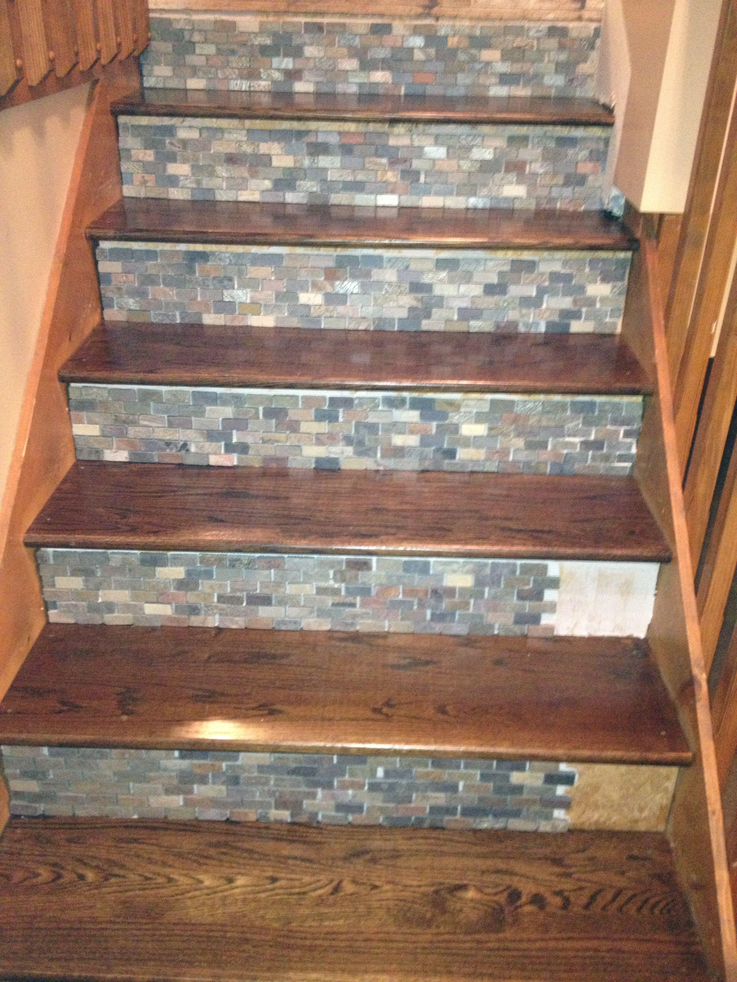 Ordinaire Stone Backsplash Tile Used On Stair Risers!!