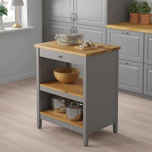 Tornviken Kitchen Island Grey Oak Width 72 Cm Ikea Ireland In 2020 Freestanding Kitchen Island Grey Kitchen Island Ikea Kitchen Island