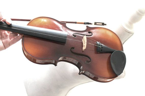 wooden violin old vintage violin in suitcase by Sweetlakevintage, $286.00