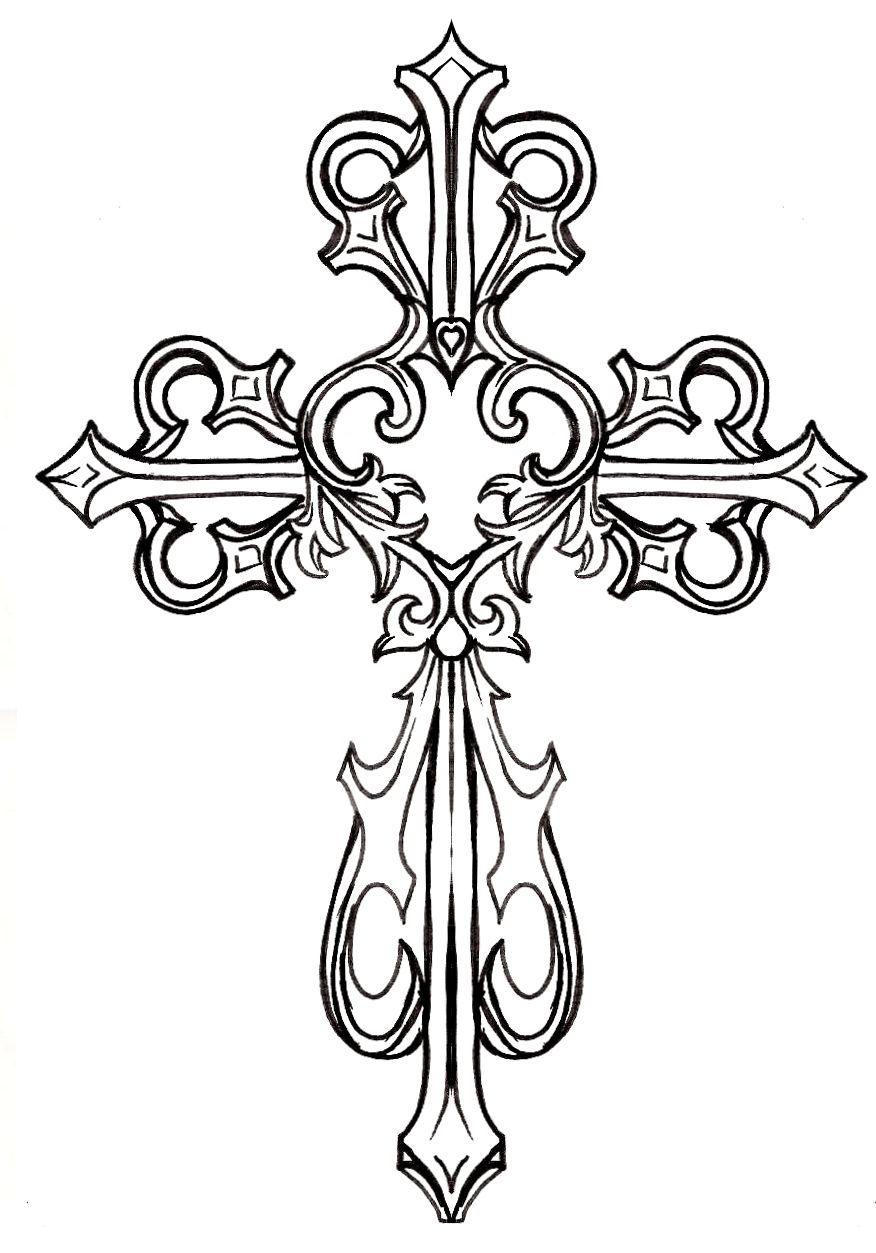 ornate cross with heart tattoo by metacharis on deviantart