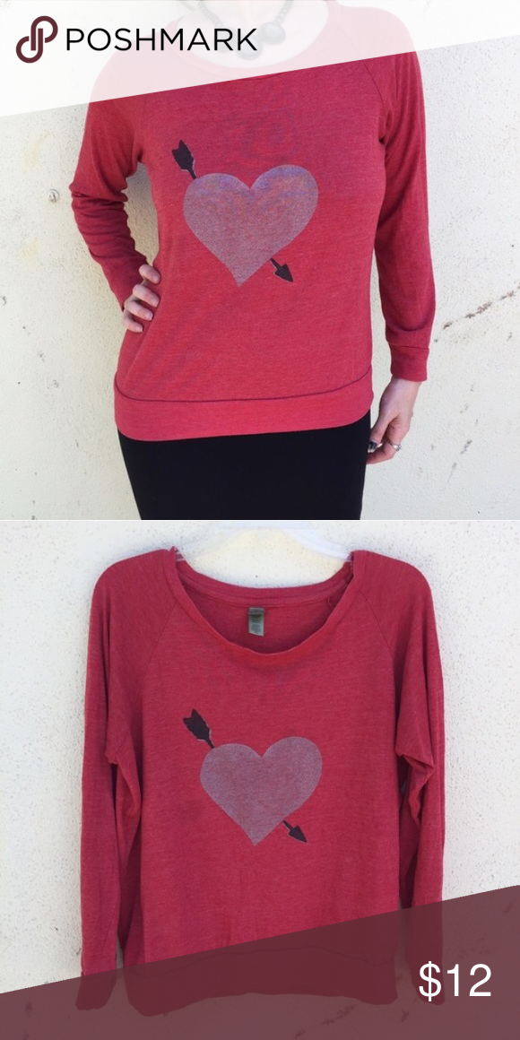 Eco Jersey Top Red Heart Long Sleeve Tee Sz M L Eco Friendly Brand Alternative Earth Brings You Thi Red Long Sleeve Tops Thin Sweatshirts Urban Outfitters Tops