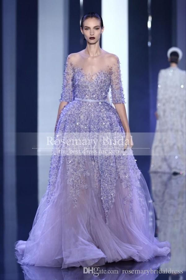 Elie Saab A-line Evening Gowns See Through Sheer Neck Women Prom ...