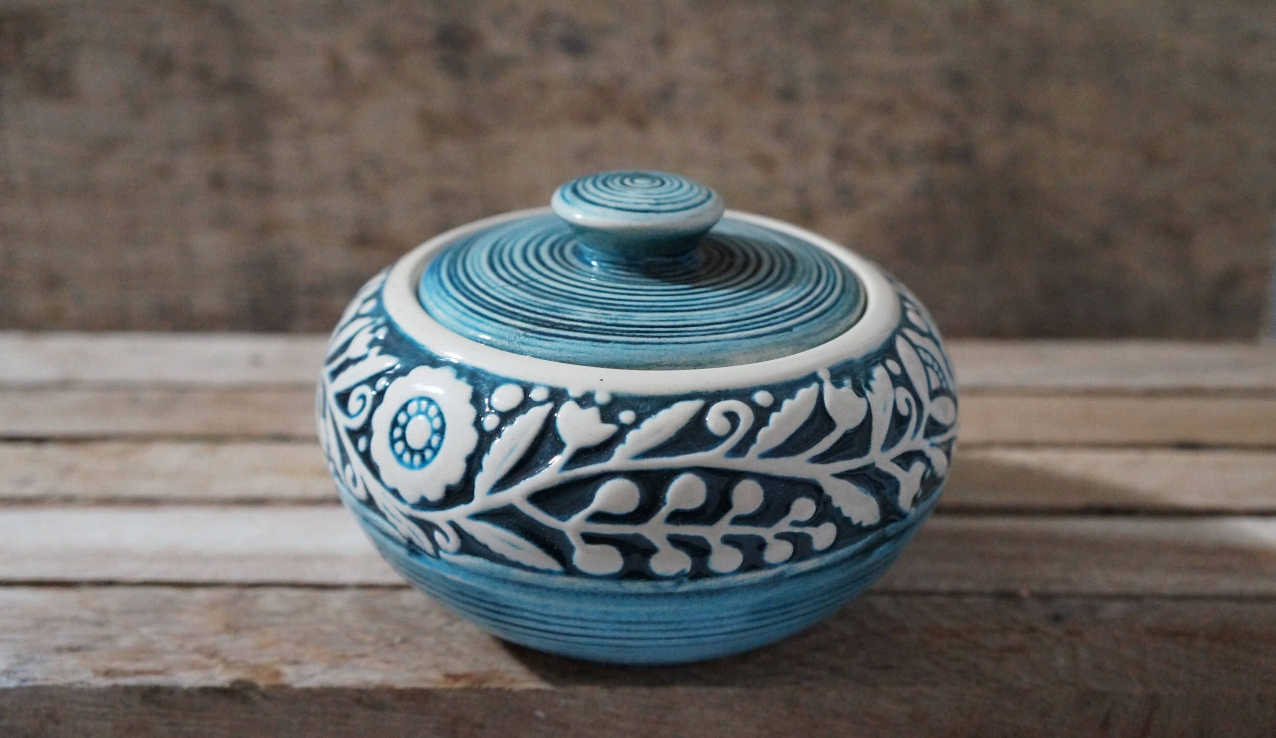 Ceramic sugar bowl Rustic kitchen decor Pottery jar Stoneware ...