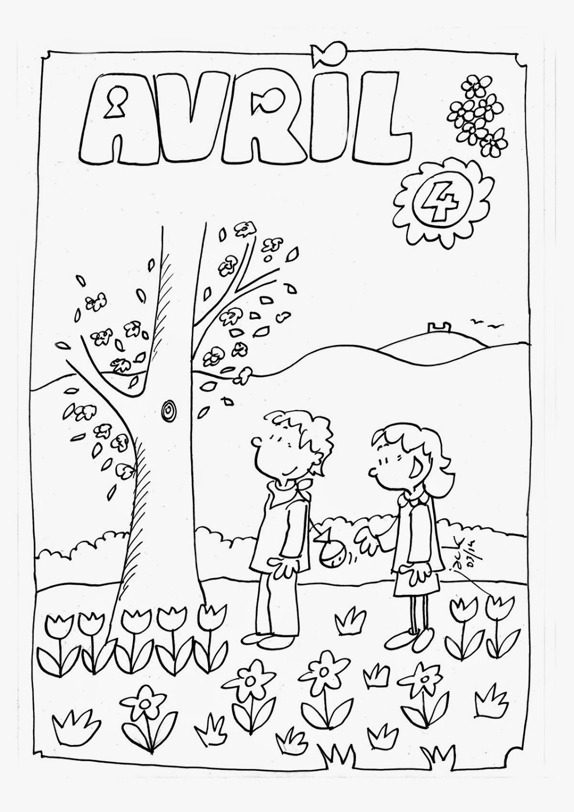 Coloriage Du Mois Davril Coloriage Enfant Teaching French