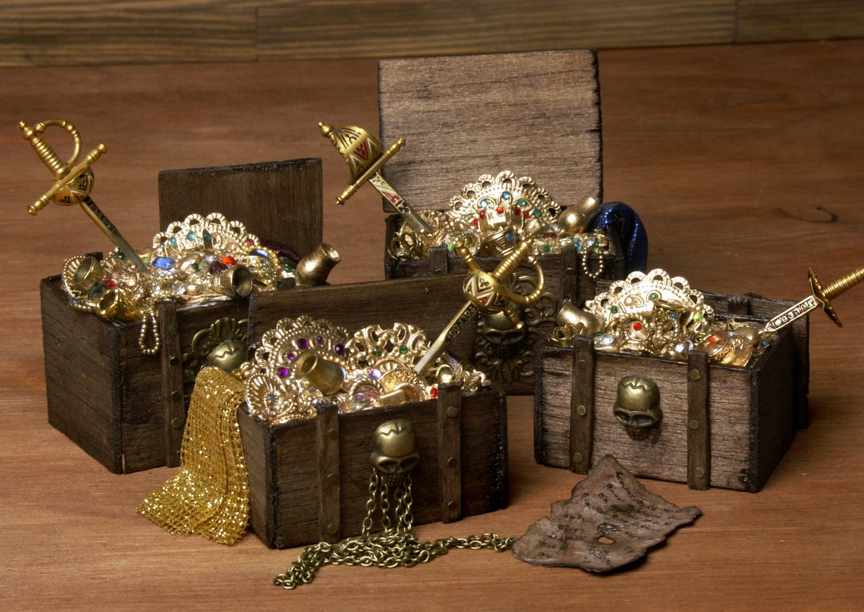 Old Trimmed Miniature Treasure Chests for Your Dollhouse by DinkyWorld on Etsy