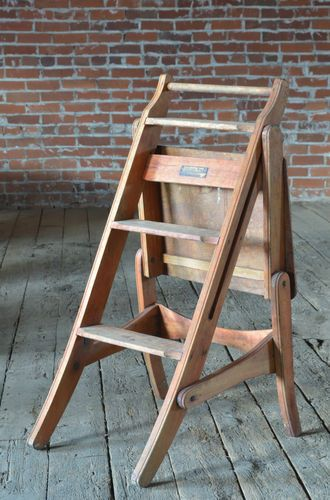 Vintage Industrial Antique Wood Step Stool Chair Combo For Work